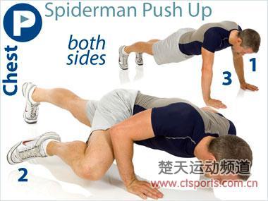 图示蜘蛛人俯卧撑锻炼腹肌